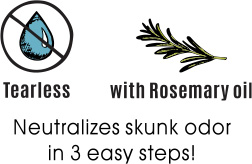 Features: Neutralizes skunk odor in 3 easy steps