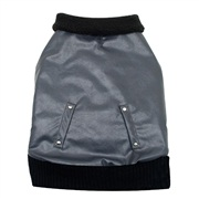 Dogit Fall/Winter 2011 Dog Clothing Collection - Faux Leather Bomber Jacket, Charcoal, Medium