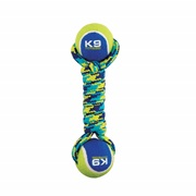 K9 Fitness by Zeus Double Tennis Ball Rope Dumbbell  with Tennis Ball - Medium - 6.35 cm (9 in)