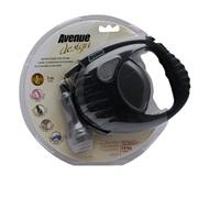 Avenue Dog Retractable Tape Leash, Black, Large (5m/16ft)