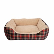 Dogit DreamWell Dog Cuddle Bed - Rectangular - Red Tartan - Small - 48 x 38 x 13 cm (19 x 15 x 5 in)
