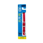 "Catit Buckle Nylon Cat Collar, Red. Size: 9.5mm (3/8"") x 20cm-33cm (8-13"")."