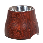 Dogit Design Elevated Dog Dish with Wood Finish Pattern, 850 mL