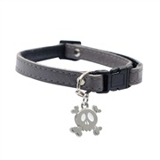 "Dogit Style Adjustable Leather Dog Collar with Snap - Gray with Pewter Skull Charm,10mm x 23cm-35cm (3/8"" x 9""-14"")"