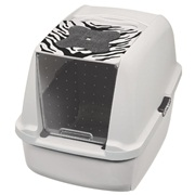 Catit Style Jumbo Hooded Cat Pan, White Tiger Pattern