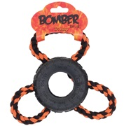 Zeus Bomber Tri Loop Rubber Dog Toy - 9 x 18 cm