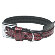 Dogit Style Faux Leather Dog Collar-Ibiza, Red, Large