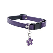 "Dogit Style Adjustable Leather Dog Collar with Snap - Purple with Pewter Flower Charm, 10mm x 15cm-25cm (3/8"" x 6""-10"")"