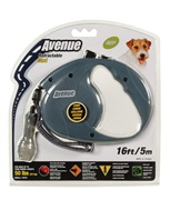Avenue Dog Retractable Cord Leash, Gray, Small (5m/16ft)