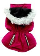 Dogit Fall/Winter 2010 Dog Clothing Collection - Coat with Faux Fur Trimmed Hood, Pink, XLarge