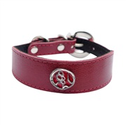 "Dogit Style Leather Dog Collar - Wide Collar with Buckle,  Red with Pewter Serenity Charm, 25mm x 20cm-25cm (1"" x 8""-10"")"