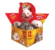 Catit Nibblers Fur Mice Cat Toy, Deluxe Fur Mice Display Box, 12 large mice