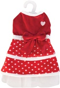 Dogit Christmas 2010 Small Dog Clothing Collection - Holiday Polka Dot Dress, Red/White, Large