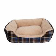 Dogit DreamWell Dog Cuddle Bed - Rectangular - Blue Tartan - Large - 63 x 53 x 17.7 cm (25 x 21 x 7 in)