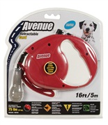 Avenue Dog Retractable Cord Leash, Red, Medium (5m/16ft)