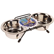 Dogit Stainless Steel Double Dog Diner, Small, with 2 x 400ml (13.5 fl oz) bowls and stand