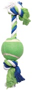 Dogit Dog Knotted Rope Toy, Multicoloured Rope Bone with Tennis Ball, Medium