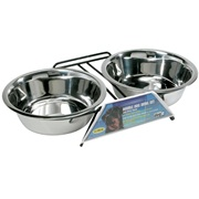 Dogit Stainless Steel Double Dog Diner, Extra Large, with 2 x 2L (67.6 fl oz) bowls and stand