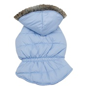 Dogit Fall/Winter 2011 Dog Clothing Collection - Coat with Faux Fur Trimmed Hood, Frosted Blue, Medium