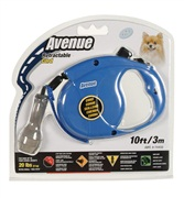 Avenue Dog Retractable Cord Leash, Blue, Extra Small (3m/10ft)