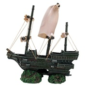 Marina Sunken Ship with Fabric Sails and Rope