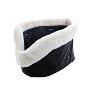 Pico By Zeus Liner For Tote Bag Black With Beige Faux Fur - 50 x 7 x 30 cm