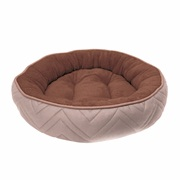 Dogit DreamWell Dog Cuddle Bed - Round - Beige/Brown - 56 cm dia (22 in)