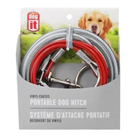 Avenue Pet Tether Portable Dog Hitch - 4.5 m (15 ft) Red Loop Cable - Clear