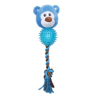 Dogit Stuffies Dog Toy - Plush, Rope & TPR Ball Blue Bear - 28 cm (11 in)
