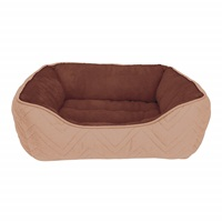 Dogit DreamWell Dog Cuddle Bed - Rectangular - Beige/Brown - 60 x 51 x 23 cm (24 x 20 x 9 in)