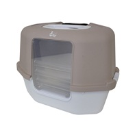 Cat Love Space Saver Corner Hooded Cat Pan w/Detachable bag anchor & carbon filter - Grey - 56 x 45 x 43.5 cm (22 x 17.7 x 17.12 in)