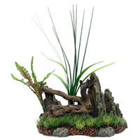 Marina Driftwood, Rock, Plants on Grassy Base, Medium