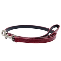 """Dogit Style Leather Dog Leash - Red, 13mm x 1.2m (1/2"""" x 48"""")"""