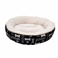 Dogit DreamWell Dog Cuddle Bed - Round - Black Woof - 53 cm dia (21 in)