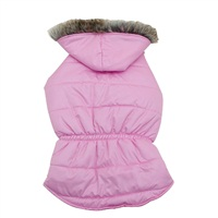 Dogit Fall/Winter 2011 Dog Clothing Collection - Coat with Faux Fur Trimmed Hood, Rose, Medium