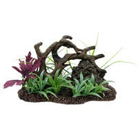 Marina Twisted Driftwood with Rock on Base of Plants, Large