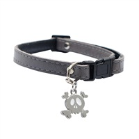 "Dogit Style Adjustable Leather Dog Collar with Snap - Gray with Pewter Skull Charm, 10mm x 15cm-25cm (3/8"" x 6""-10"")"