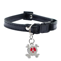 "Dogit Style Adjustable Leather Dog Collar with Snap - Black with Pewter Skull Charm, 10mm x 15cm-25cm (3/8"" x 6""-10"")"