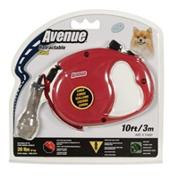 Avenue Dog Retractable Cord Leash, Red, Extra Small (3m/10ft)