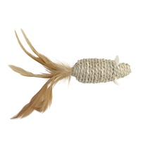Catit EcoCat Toy Seagrass Mouse with Feather - 15 cm