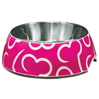 Dogit Style 2-in-1 Dog Dish- Pink Bones, Small (350ml/11.8 fl oz)