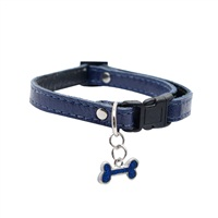 "Dogit Style Adjustable Leather Dog Collar with Snap - Blue with Pewter Bone Charm, 10mm x 15cm-25cm (3/8"" x 6""-10"")"