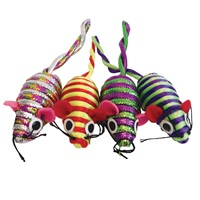 Cat Love Furry Frolics Cat Toy - Glitter Stripe Catnip Mice - 4 pieces