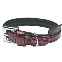 Dogit Style Faux Leather Dog Collar-Ibiza, Red, Small