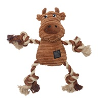 Dogit Stuffies Dog Toy - Corduroy Plush & Rope Brown Cow - 23 cm (9 in)
