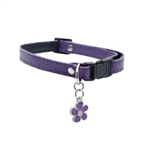 "Dogit Style Adjustable Leather Dog Collar with Snap - Purple with Pewter Skull Charm, 10mm x 23cm-35cm (3/8"" x 9""-14"")"