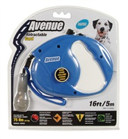 Avenue Dog Retractable Cord Leash, Blue, Medium (5m/16ft)