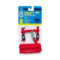 Catit Adjustable Nylon Cat Harness & Leash Set, Red, Small