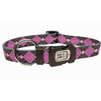 Dogit Style Nylon Print Dog Collar-Argyle, Purple, Large