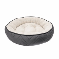 Dogit DreamWell Dog Cuddle Bed - Round - Gray/White - 56 cm dia (22 in)